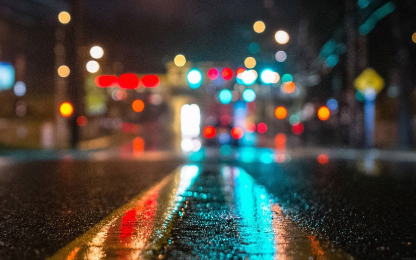 Rainy City Road Bokeh Lights Desktop Wallpaper